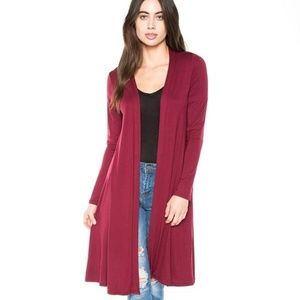NEW Women's Solid Maroon Long Cardigan